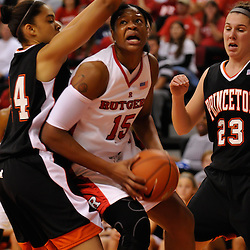 Nov 18, 2008; Piscataway, NJ, USA; Rutgers senior center Kia Vaughn (15) battles Princeton's Devona Allgood and Addie Micir during the first half of Rutgers' 83-35 victory at Louis Brown Athletic Center .