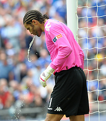 Wembley FA Cup final Chelsea v Portsmouth 15/05/2010.David James  (Portsmouth) gets rid of his excess fluid.