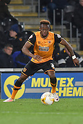 Hull City midfielder Moses Odubajo (2) during the Sky Bet Championship match between Hull City and Brentford at the KC Stadium, Kingston upon Hull, England on 26 April 2016. Photo by Ian Lyall.