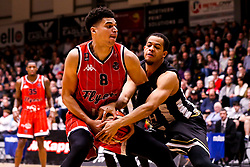 Tevin Falzon of Bristol Flyers takes on Kyle Williams of Newcastle Eagles - Photo mandatory by-line: Robbie Stephenson/JMP - 01/03/2019 - BASKETBALL - Eagles Community Arena - Newcastle upon Tyne, England - Newcastle Eagles v Bristol Flyers - British Basketball League Championship