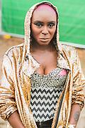 Laura Mvula in thoughtful mode after a radio interview - The 2016 Glastonbury Festival, Worthy Farm, Glastonbury.