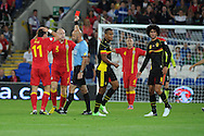 James Collins of Wales (5) is sent off for a bad tackle on Belgium's Guillaume Gillet. World cup 2014 qualifying match, Group A, Wales v Belgium at the Cardiff city stadium in Cardiff, South Wales on Friday 7th Sept 2012.  pic by  Andrew Orchard, Andrew Orchard sports photography,