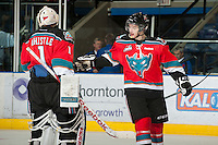 KELOWNA, CANADA - NOVEMBER 9:  Cole Martin #8 and Jackson Whistle #1 of the Kelowna Rockeets celebrate a goal against  Red Deer Rebels at the Kelowna Rockets on November 9, 2012 at Prospera Place in Kelowna, British Columbia, Canada (Photo by Marissa Baecker/Shoot the Breeze) *** Local Caption ***