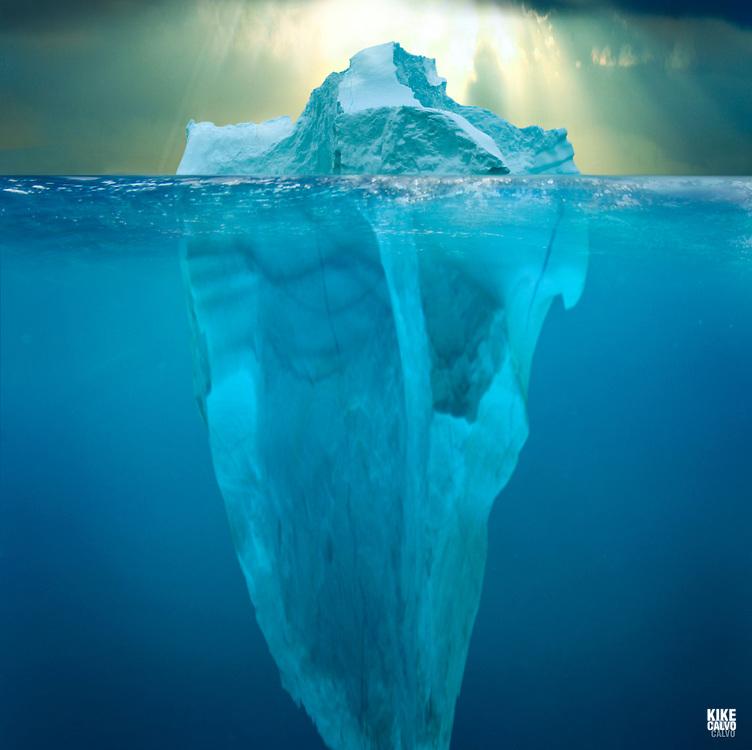 Split image of an iceberg. Iceberg from Greenland, drifting on Iceberg Alley. Baffin Bay.  Baffin Island. High Arctic. Canada.