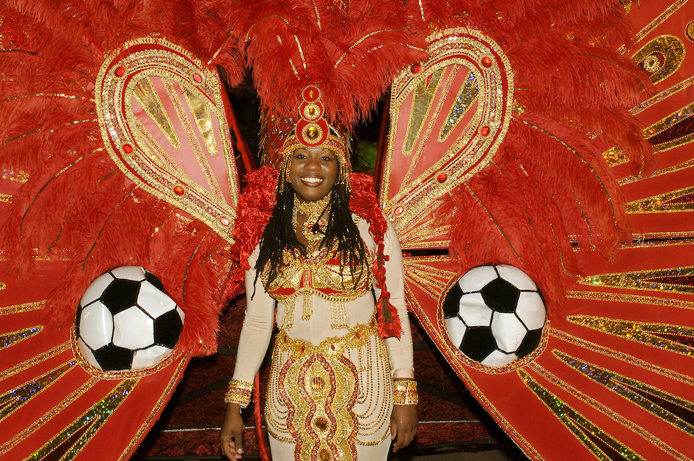West Indies, Caribbean Carnival 2006, Lisa Peters from Sangre Grande wears the costume titled 'I Am Free To Fly To Germany'  at the preliminaries for the Carnival Queen 2006 at Queens Park Savannah in Port of Spain..German: Trinidad und Tobago, Port of Spain, Karibik, Karneval, Fussball, WM, Lisa Peters aus Sangre Grande traegt das Kostum 'I Am Free To Fly To Germany'  in der Vorausscheidung zur Wahl der Karnevals Koenigin 2006 im Queens Park Savannah in Port of Spain.