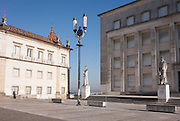 Statue figures in front of the Faculty of Letters (right), Praca da Porta Ferrea, Coimbra University, Portugal.