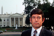 A 30 MG IMAGE OF:.Dan Rather  in LaFayette Park with the White House in the background in June 1975....Photo by Dennis Brack b11