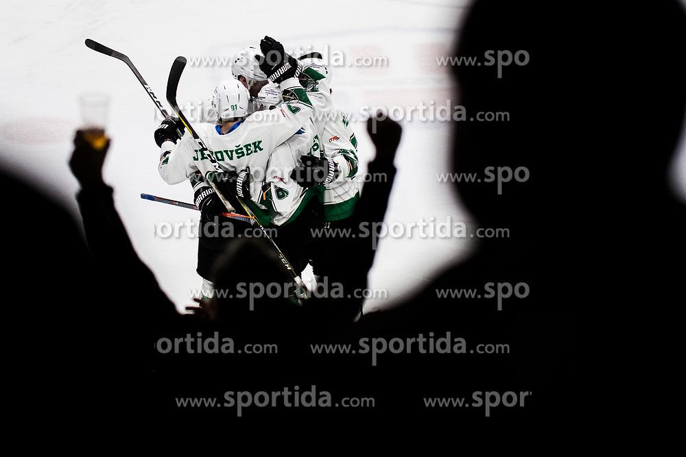 Players of HK SZ Olimpija during Ice Hockey match between HK SZ Olimpija and HC Pustertal Wolfe in 6th Final game of Alps Hockey League 2018/19, on April 19th, 2019, in Hala Tivoli, Ljubljana, Slovenia. Photo by Grega Valancic