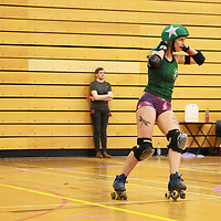 Manchester's Checkerbroads take on Liverpool's Sisters of Mersey in the Tier 1 WFTDA British Champs 2019 Playoffs at Fenton Manor Sports Complex, Stoke-on-Trent, 2019-09-21