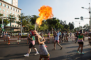 Breathing fire during a carnival. The Dream Parade is an annual arts carnival and street parade that takes place in Taipei. The event is the brainchild of real estate developer Gordon Tsai who founded the Dream Community after being inspired by simialr events in other parts of the world.