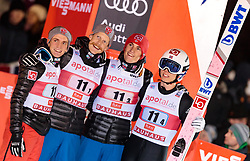 25.11.2017, Nordic Arena, Ruka, FIN, FIS Weltcup Ski Sprung, Nordic Opening, Kuusamo, Teambewerb, im Bild Anders Fannemel (NOR), Robert Johansson (NOR), Daniel Andre Tande (NOR), Johann Andre Forfang (NOR)// Anders Fannemel of Norway, Robert Johansson of Norway, Daniel Andre Tande of Norway, Johann Andre Forfang of Norway during the Team Event of the FIS Skijumping World Cup of the Nordic Opening at the Nordic Arena in Ruka, Finland on 2017/11/25. EXPA Pictures © 2017, PhotoCredit: EXPA/ JFK