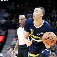 02 April 2017: Utah Jazz guard Dante Exum (11) passes the ball during the San Antonio Spurs 109-103 victory over the Utah Jazz, at the AT&T Center, San Antonio, Texas, USA.