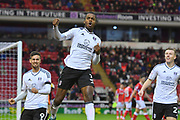 Fulham FC defender Ryan Sessegnon (3) celebrates scoring goal with Fulham FC forward Rui Fonte (9) to go 1-1 during the EFL Sky Bet Championship match between Barnsley and Fulham at Oakwell, Barnsley, England on 27 January 2018. Photo by Ian Lyall.