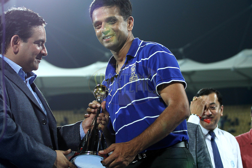 Rahul Dravid receives the fair play trophy during the final of the Indian Premier League ( IPL ) 2012  between The Kolkata Knight Riders and the Chennai Superkings held at the M. A. Chidambaram Stadium, Chennai on the 27th May 2012..Photo by Ron Gaunt/IPL/SPORTZPICS