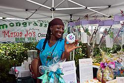Chinwe Osaze sells Moko Jumbies, lemongrass, bush tea, body butters, and balms at the Lemongrass Hut
