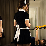 TOKYO, JAPAN - APRIL 2 : Members of maid gym coach attends a training session of gym instructors in Akihabara on April 2, 2017, Tokyo, Japan. Japan is unveiling a gym where you work out with and get coached by maids on one-on-one training assistance. Maid gym is now accepting advance reservation and it will be open first week of May 2017.  (Photo by Richard Atrero de Guzman/NUR Photo)