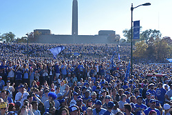 Nov 3, 2015; Kansas City, MO, USA; A general view of the thousands of fans that turned out for the celebration at Union Station. Mandatory Credit: Denny Medley-USA TODAY Sports