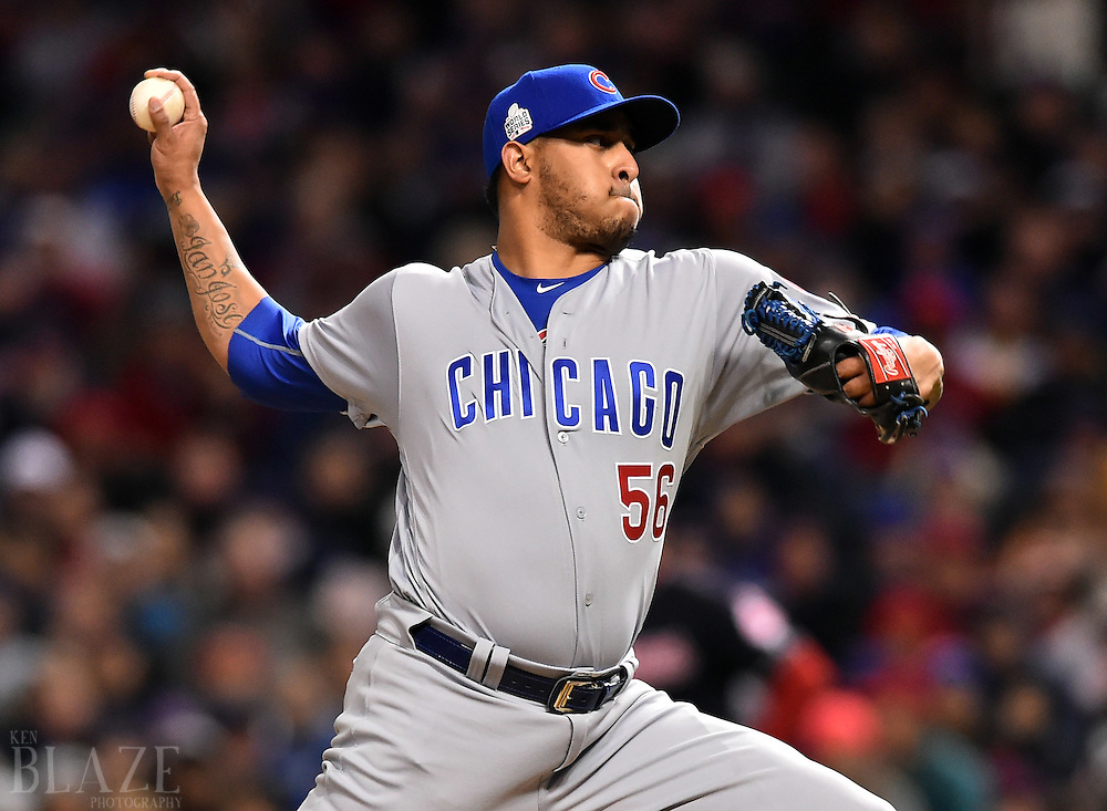 Oct 25, 2016; Cleveland, OH, USA; Chicago Cubs relief pitcher Hector Rondon throws against the Cleveland Indians in the 8th inning in game one of the 2016 World Series at Progressive Field. Mandatory Credit: Ken Blaze-USA TODAY Sports