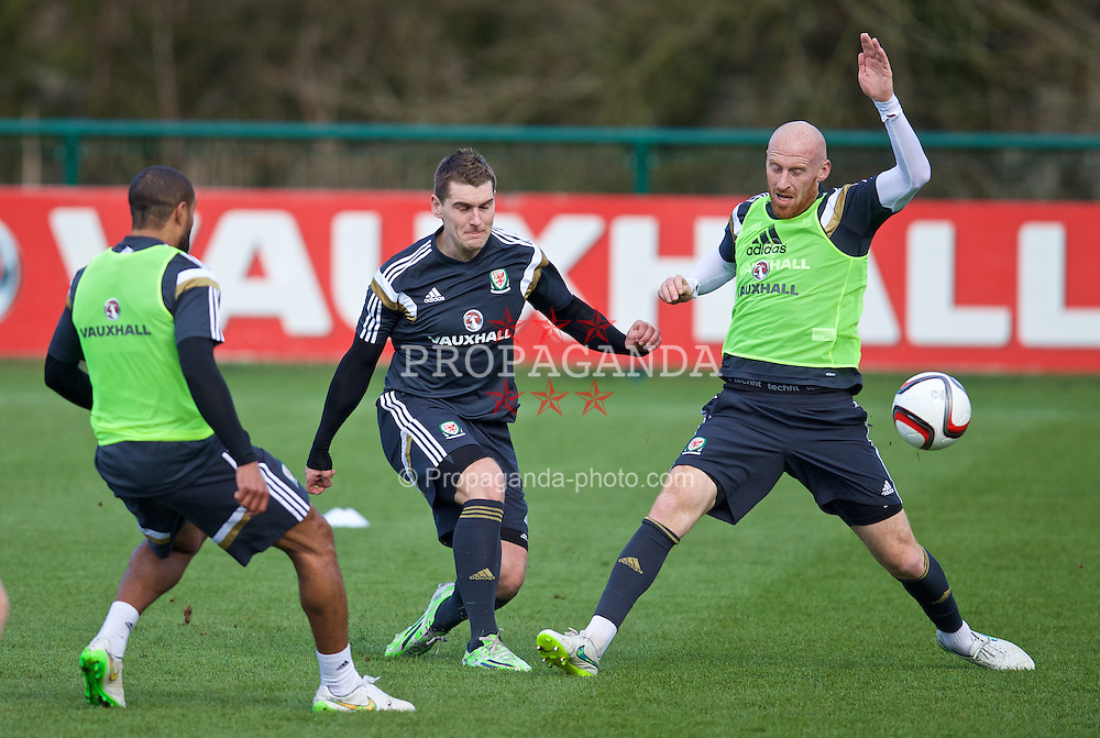 CARDIFF, WALES - Tuesday, March 24, 2015: Wales' Sam Vokes and James Collins during a training session at the Vale of Glamorgan ahead of the UEFA Euro 2016 qualifying Group B match against Israel. (Pic by David Rawcliffe/Propaganda)
