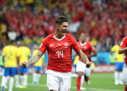 ROSTOV-ON-DON, June 17, 2018  Steven Zuber of Switzerland celebrates scoring during a group E match between Brazil and Switzerland at the 2018 FIFA World Cup in Rostov-on-Don, Russia, June 17, 2018. (Credit Image: © Lu Jinbo/Xinhua via ZUMA Wire)