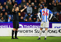 Referee Kevin Friend rules out Manchester United's second goal after a VAR review - Mandatory by-line: Matt McNulty/JMP - 17/02/2018 - FOOTBALL - The John Smith's Stadium - Huddersfield, England - Huddersfield Town v Manchester United - Emirates FA Cup Fifth Round