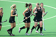 New Zealand celebrate after Katie Glynn scores from a short corner during the pool B women's hockey match of the The Commonwealth Games between New Zealand and Wales held at the Stadium in New Delhi, India on the  October 2010..Photo by:  Ron Gaunt/SPORTZPICS/PHOTOSPORT