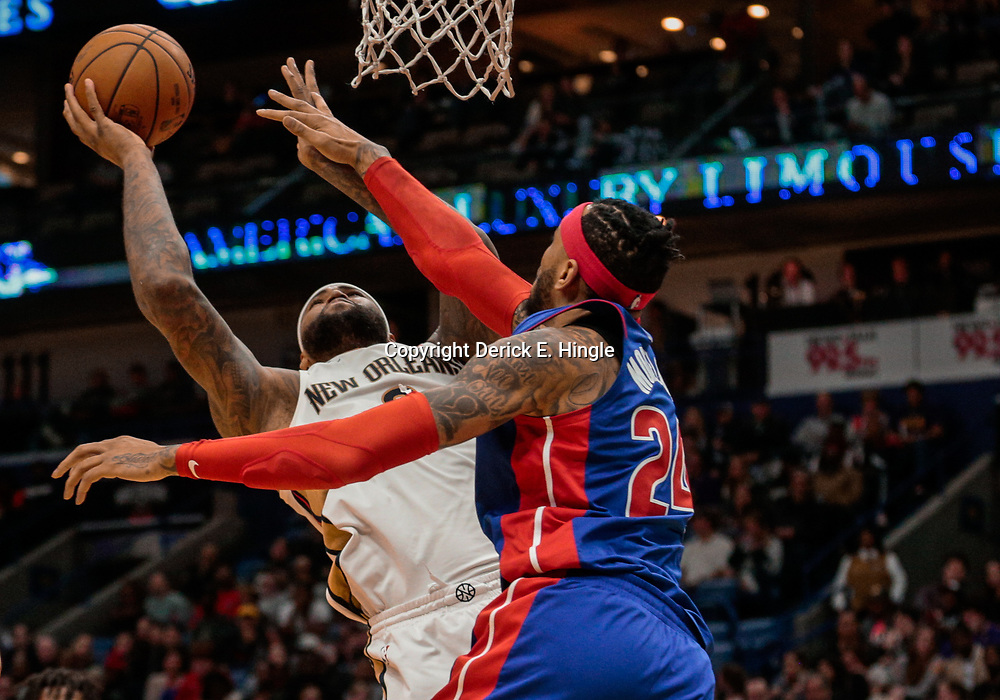 Jan 8, 2018; New Orleans, LA, USA; New Orleans Pelicans center DeMarcus Cousins (0) shoots over Detroit Pistons forward Eric Moreland (24) during the second half at the Smoothie King Center. The Pelicans defeated the Pistons 112-109. Mandatory Credit: Derick E. Hingle-USA TODAY Sports