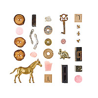 """Rabbit Rabbit is one of two """"portraits"""" I did for Danielle Krysa of The Jealous Curator. The objects are ones she selected that have personal meaning for her. Prints are only available for sale through her shop: http://great.ly/t/jealouscurator/products/9599"""
