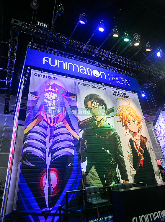 July 5, 2018 - Los Angeles, California, U.S - The Funimation booth in the Exhibit Hall at Anime Expo 2018 held at the Los Angeles Convention Center in Los Angeles, California on Thursday July 5, 2018. Anime Expo 2018 – Day 1. (Credit Image: © Prensa Internacional via ZUMA Wire)