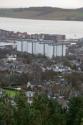 The Tulloch Court flats on left from The Law hill. Scotland's schemes story, Hilltown area of Dundee.