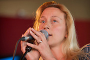 Lead singer Sarah P during a performance from the Deirdre Cartwright group in 2008. This was part of the Friday Tonic series in the frontroom of the Southbank center in London.