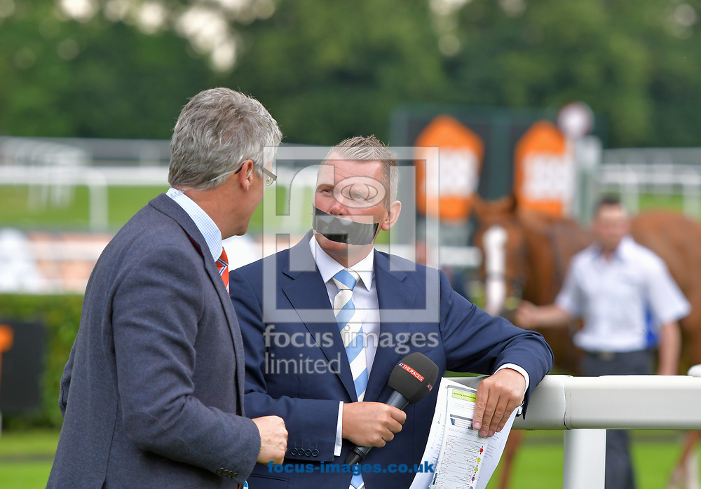 Horse racing presenter Matt Chapman with his mouth covered by gaffer tape to raise money for Voice Of Racing Charity day at the 188 Bet Summer Afternoon meeting at Doncaster Racecourse, Doncaster<br /> Picture by Martin Lynch/Focus Images Ltd 07501333150<br /> 30/06/2017