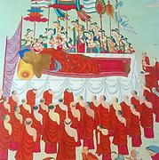 Death of Buddha (c563-c483). Prince Gautama Siddhartha, founder of Buddhism. Painting.