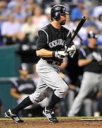 June 23, 2008; Kansas City, MO, USA; Colorado Rockies first basemen Todd Hilton (17) drives in a run in the eighth inning against Kansas City Royals at Kauffman Stadium.  The Royals defeated the Rockies 8-4. Mandatory Credit: Peter G. Aiken-US PRESSWIRE
