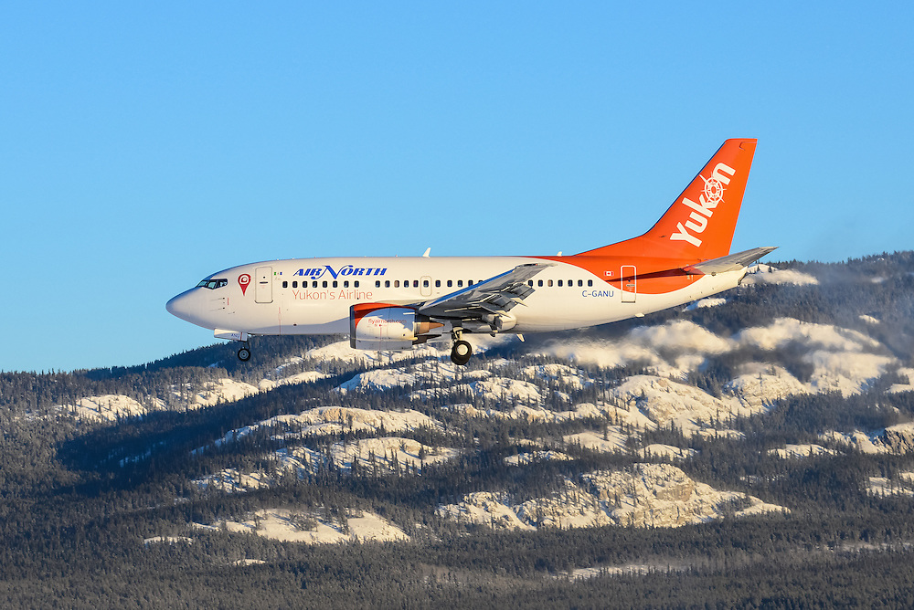 Winter landing with Grey Mountain in the background