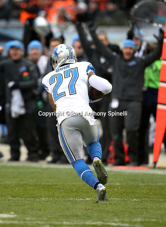 Detroit Lions free safety Glover Quin (27) intercepts a fourth quarter pass that ends up as the game winning play during the NFL week 17 regular season football game against the Chicago Bears on Sunday, Jan. 3, 2016 in Chicago. The Lions won the game 24-20. (©Paul Anthony Spinelli)