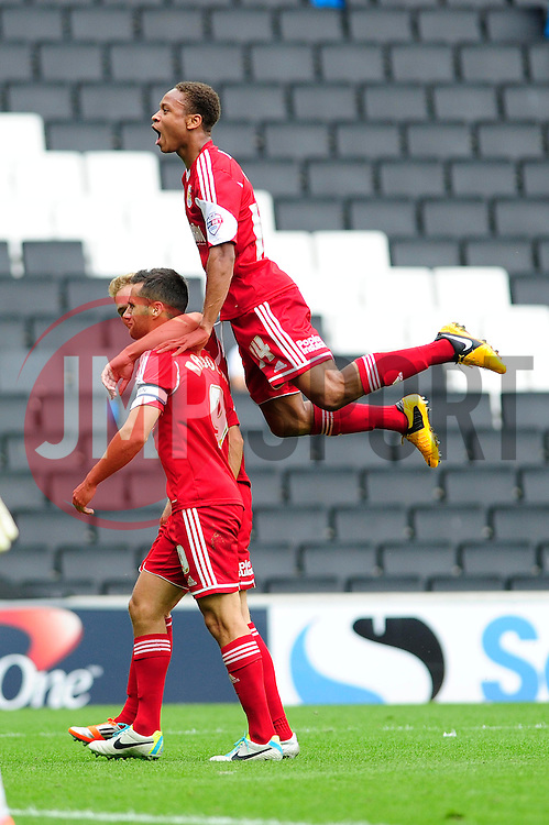 GOAL CELEBRATIONS. Bristol City captain, Sam Baldock celebrates his goal.  - Photo mandatory by-line: Dougie Allward/JMP - Tel: Mobile: 07966 386802 24/08/2013 - SPORT - FOOTBALL - Stadium MK - Milton Keynes -  Milton Keynes Dons V Bristol City - Sky Bet League One