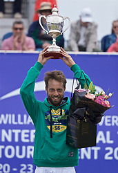 LIVERPOOL, ENGLAND - Sunday, June 23, 2019: Paulo Lorenzi (ITA) lifts the Boodle & Dunthorne Trophy after winning the Men's Final during Day Four of the Liverpool International Tennis Tournament 2019 at the Liverpool Cricket Club. Lorenzi beat Robert Kendrick (USA) 7-6, 6-2. (Pic by David Rawcliffe/Propaganda)