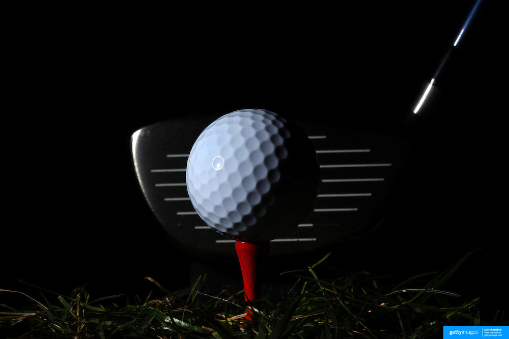 A studio shot of a golf club and a Golf Ball on a tee. 26th October 2012. Photo Tim Clayton