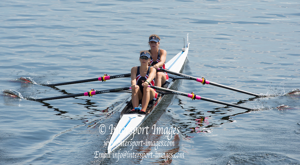 Hamburg. GERMANY. USA. JW2X. Claire and Mmaty CAMPBELL. Start.  Friday, Morning Quarter Finals at the 2014 FISA Junior World rowing. Championships.  12:24:49  Friday  08/08/2014  [Mandatory Credit; Peter Spurrier/Intersport-images]