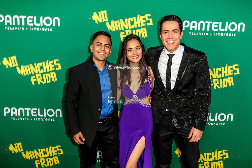 LOS ANGELES, CA - AUGUST 31 Left to right Actor Memo Dorantes, Actor Mario Moran and Actress karen Furlong attends the red carpet premiere of the film No Manches Frida the the Regal Cinemas in downtown Los Angeles on Tuesday night 2016 August 31. Byline, credit, TV usage, web usage or linkback must read SILVEXPHOTO.COM. Failure to byline correctly will incur double the agreed fee. Tel: +1 714 504 6870.