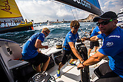 Team Vestas Wind gets some practice on the race course the day before the first Inshore Race for the Volvo Ocean Race 2014-2015