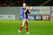 Lee Holmes (10) of Exeter City applauds, claps the fan at full time after a 2-0 win over Grimsby Town during the EFL Sky Bet League 2 match between Exeter City and Grimsby Town FC at St James' Park, Exeter, England on 11 November 2017. Photo by Graham Hunt.