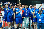 Katowice, Poland - 2017 September 03: SO Finland Team celebrate their silver medal while Awarding Ceremony during European Unified Volleyball Tournament 2017 at Spodek Hall on September 03, 2017 in Katowice, Poland.<br /> <br /> Adam Nurkiewicz declares that he has no rights to the image of people at the photographs of his authorship.<br /> <br /> Picture also available in RAW (NEF) or TIFF format on special request.<br /> <br /> Any editorial, commercial or promotional use requires written permission from the author of image.<br /> <br /> Image can be used in the press when the method of use and the signature does not hurt people on the picture.<br /> <br /> Mandatory credit:<br /> Photo by © Adam Nurkiewicz / Mediasport