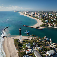 Aerial view of Hillsboro Inlet, Pompano Beach, FL looking south.