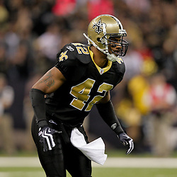 2009 November 02: New Orleans Saints safety Darren Sharper (42) in pass coverage against the Atlanta Falcons during a 35-27 win by the Saints over the Falcons at the Louisiana Superdome in New Orleans, Louisiana.