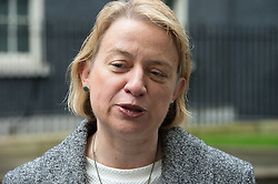 © London News Pictures. 18/05/15. London, UK. Green Party leader Natalie Bennett hands in a petition at 10 Downing Street calling for electoral reform, Westminster, Central London. Photo credit: Laura Lean/LNP/05/15.