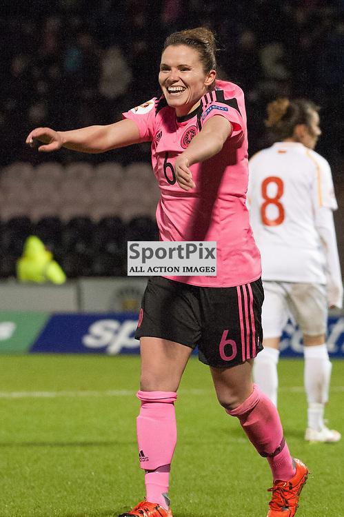 Joanne Love (Scotland &amp; Glasgow City) celebrates one of her four goals<br /> <br /> UEFA Women's European Championship Qualifying - Group 1 <br /> Scotland v FYR Macedonia<br /> St Mirren Park, Paisley<br /> Sunday 29 November 2015<br /> <br /> &copy; Russel Hutcheson   SportPix 2015