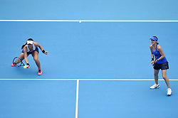 BEIJING, Oct. 7, 2017  Chan Yung-Jan (L) of Chinese Taipei and Martina Hingis of Switzerland compete during the women's doubles semifinal match against Peng Shuai of China and Sania Mirza of India at the China Open tennis tournament in Beijing on Oct. 7, 2017. Chan and Hingis won 2-1.  wll) (Credit Image: © Ju Huanzong/Xinhua via ZUMA Wire)