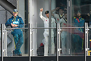 Tim Paine of Australia signals the declaration with Australia finishing their innings on 497-8 during the International Test Match 2019, fourth test, day two match between England and Australia at Old Trafford, Manchester, England on 5 September 2019.